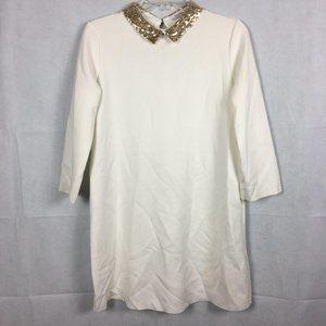 Zara Trafaluc Off White Gold Collar Shift Dress